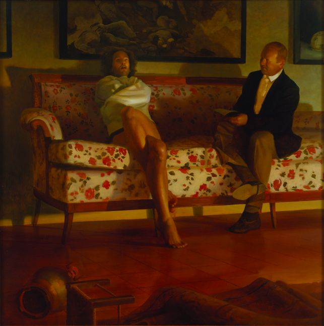 Oil painting of man in straight jacket on floral couch by Vincent Desiderio.