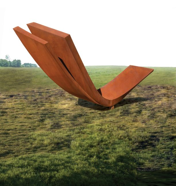 Installation shot of curved steel sculpture atop a small pedestal in grass by Beverley Pepper.