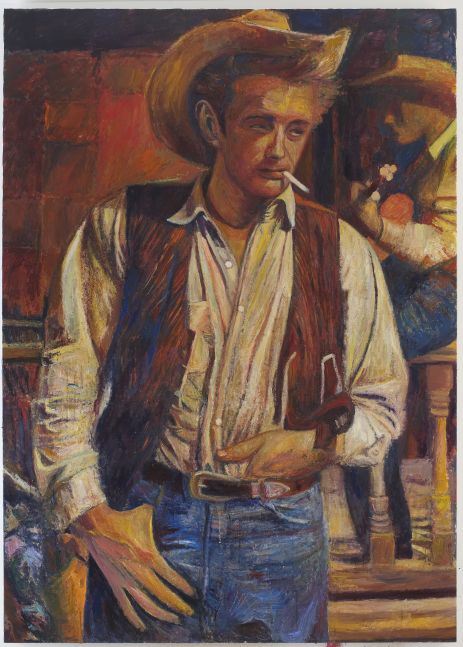 Oil on linen painting of James Dean with a cigarette by Keith Mayerson
