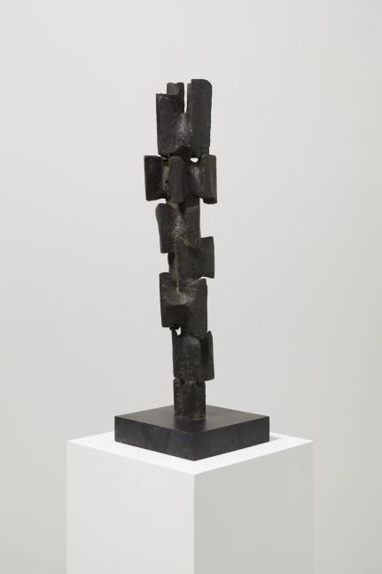 Bronze abstract sculpture by Alicia Penalba featuring a stacked configuration of rectangular pieces