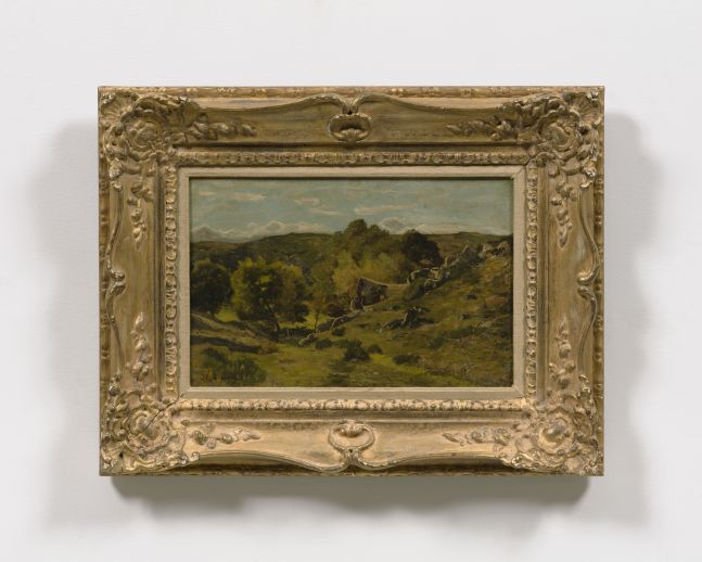 Framed oil on canvas work featuring a green landscape scene of the town Hérisson in France