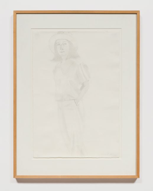 Graphite drawing of a woman wearing a hat and her hands in her pockets