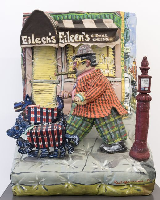 A Red Grooms sculpture depicting a man walking his two dogs with plaid overcoats.