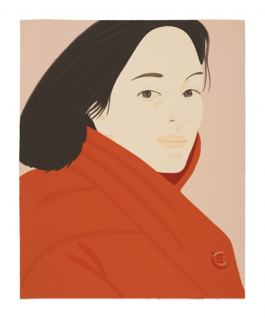 Color silkscreen by Alex Katz featuring a portrait of a woman with black hair wearing a red jacket featuring button details against a pink background