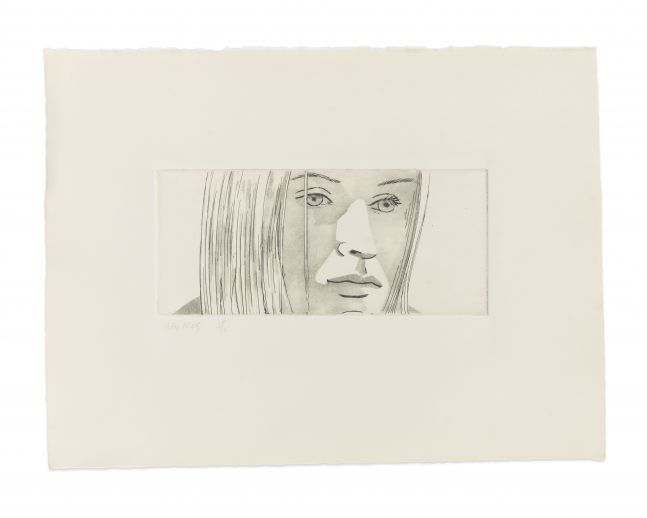 Aquatint by Alex Katz of a portrait of a woman's face
