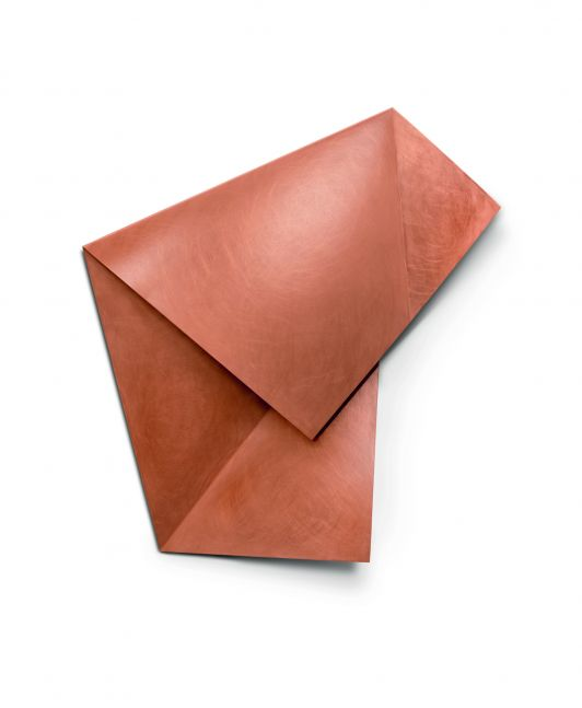 Copper sculpture in the form of folded paper
