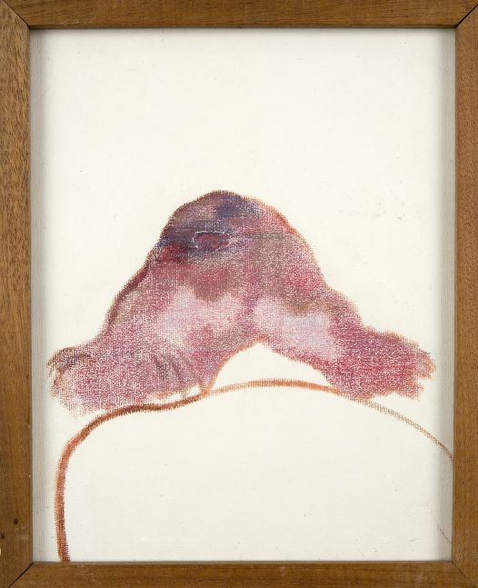 Abstract painting of purple and pink object with white background by R.B. Kitaj.