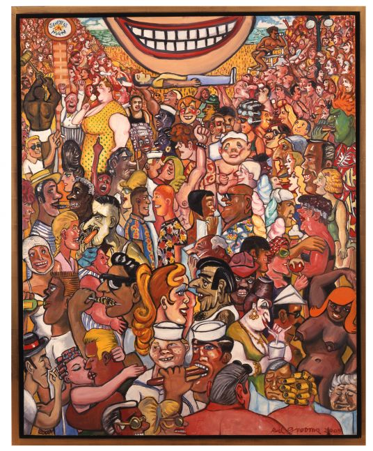Framed artwork by Red Grooms of an oil painting on canvas of a colorful crowd of figures smiling and socializing. Featuring a massive smiling mouth at the top center of the piece with a person laying horizontal below it.