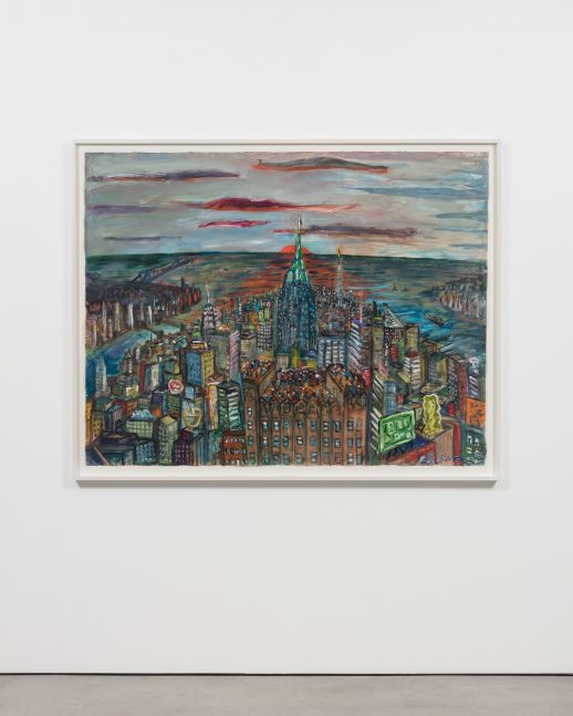 Installation view of a Red Grooms framed acrylic on paper artwork featuring a colorful urban scene with water and a sunset in the horizon