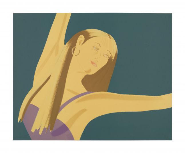 Color lithograph by Alex Katz featuring the front view of a woman wearing a lavender top and gold hoop earring with one arm over her head and the other stretched out in a dancing motion against a blue background