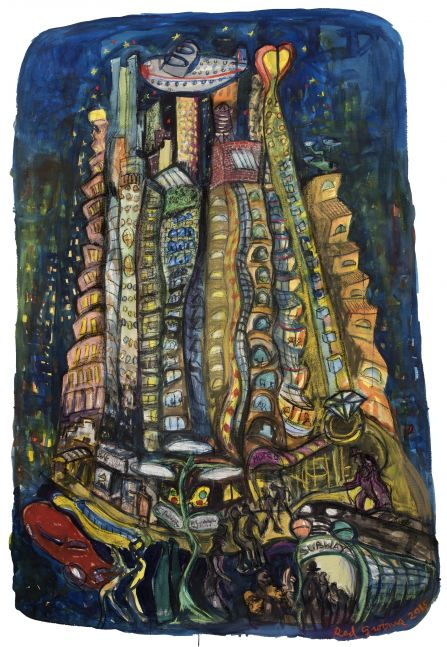 Watercolor, pastel, lithograph crayon on paper artwork study by Red Grooms of a night scene on Canal Street using exaggerated perspective with an assembly of buildings such as a hotel entrance, a helicopter, and people entering a subway station