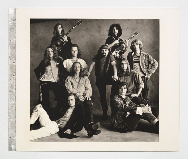 Black and white group photograph of a rock band group from San Francisco.