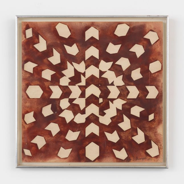 Framed acrylic on paper canvas featuring a sequence of shapes forming a three dimensional illusion over a red-brown background
