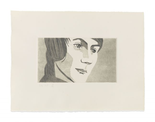 Aquatint by Alex Katz of a man at 3/4 view against a tinted gray background