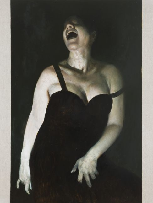 Oil painting of a laughing woman in a black dress by Vincent Desiderio.