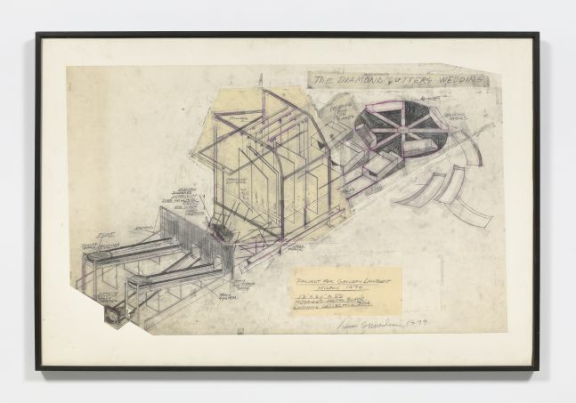 Dennis Oppenheim pencil sketch of the inner workings of a diamond cutter with highlights of pink.