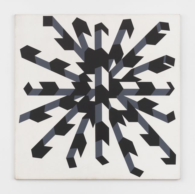Acrylic on canvas painting by Allan D'Arcangelo featuring a three dimensional illusion of a black, white, and gray configuration