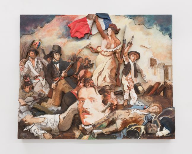 "Oil on canvas mounted on sculpted foam board piece by Larry Rivers depicting 1830 painting by Eugene Delacroix's work ""Liberty Leading the People"""