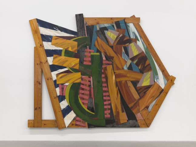 Installation photo of a colorful abstract oil painting over a geometric wood assembly