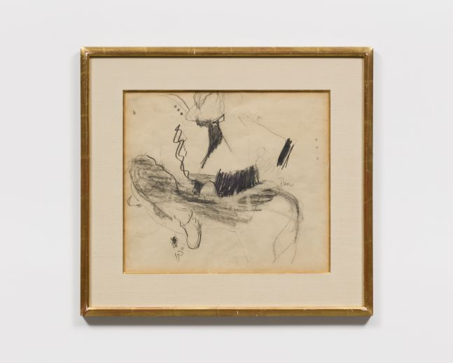 Framed charcoal and graphite drawing of an abstracted seated man wearing boots and a hat