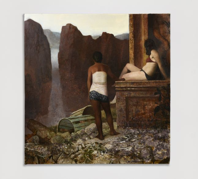 Oil painting of two figures looking down upon a precipice.