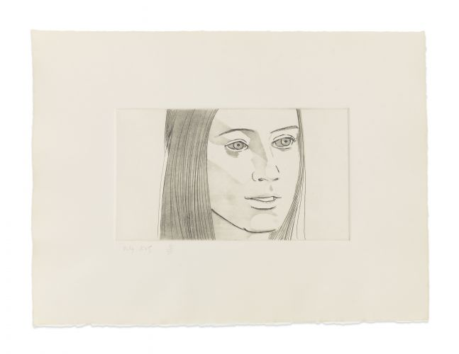 Aquatint by Alex Katz of a portrait of a woman's face at 3/4 view with her mouth slightly open