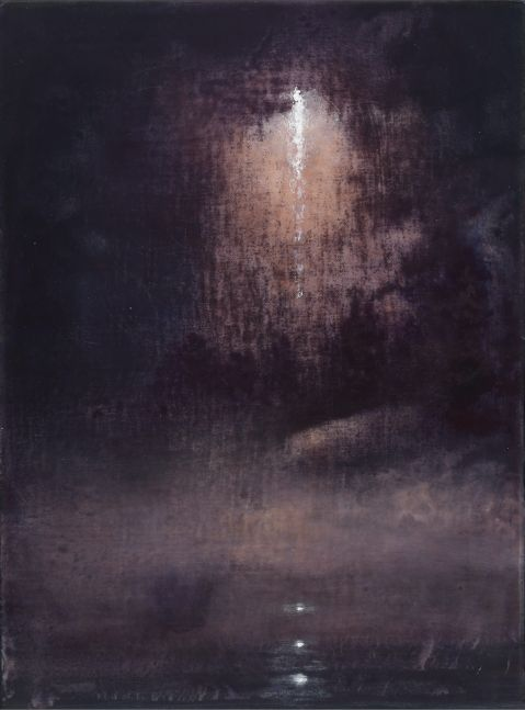 Abstract painting depicting a storm launch through dark clouds by Stephen Hannock.
