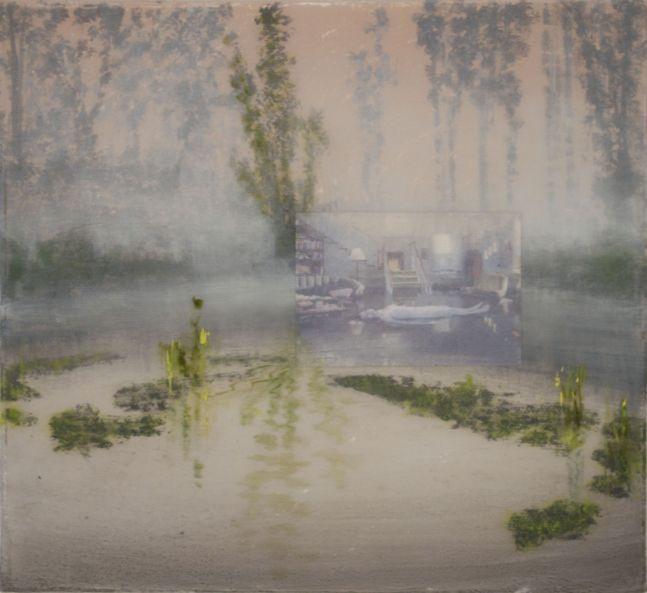 Stephen Hannock work depicting morning fog and floating greenery.