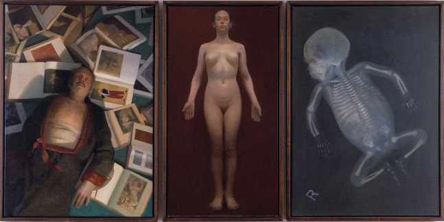 Triptych of oil paintings depicting a man laying atop books, a naked woman, and the skeletal x-ray of an infant by Vincent Desiderio.