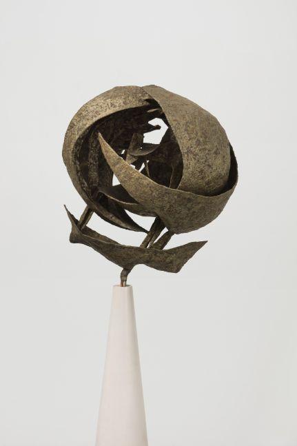 Nickel-silver on steel sculpture by Seymour Lipton of a curvilinear shape