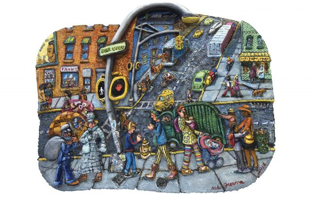 Acrylic, ink, mixed media and epoxy mounted on wood work by Red Groom of a bustling urban scene featuring figures in movement, a one way sign, and a paint storefronts