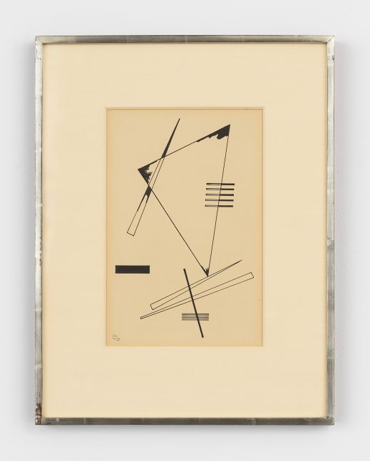Geometric black ink on paper drawing by Wassily Kandinsky featuring a composition of triangles and rectangles
