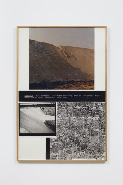 Two paneled black and white artwork depicting aerial map and sand dune by Dennis Oppenheim.