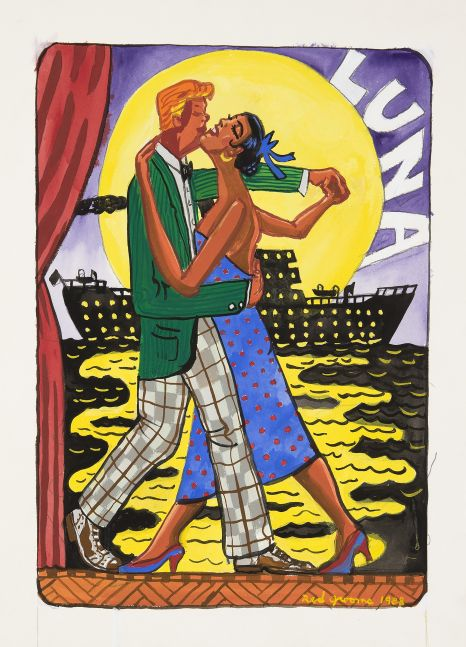 A gouache painting depicting a couple dancing with the moon and a ship in the background by Red Grooms.