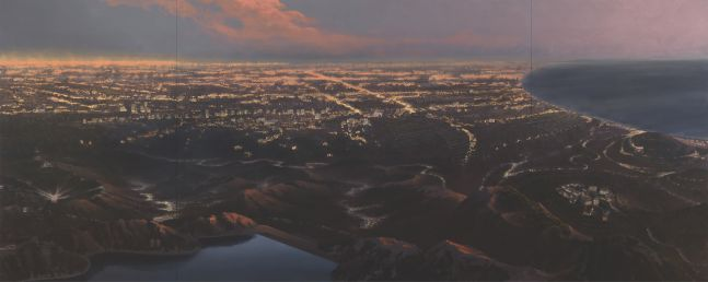 Stephen Hannock painting depicting cityscape aerial view of Southern California.