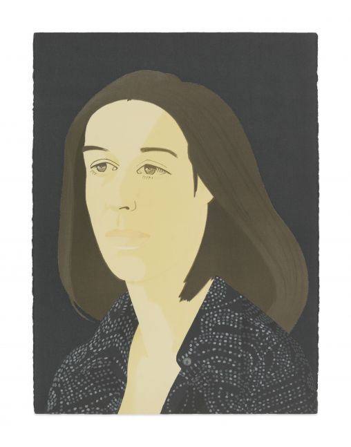 Color silkscreen with lithograph portrait by Alex Katz featuring a 3/4 profile view of a woman with brown shoulder length hair and wearing a black speckled top against a navy blue background