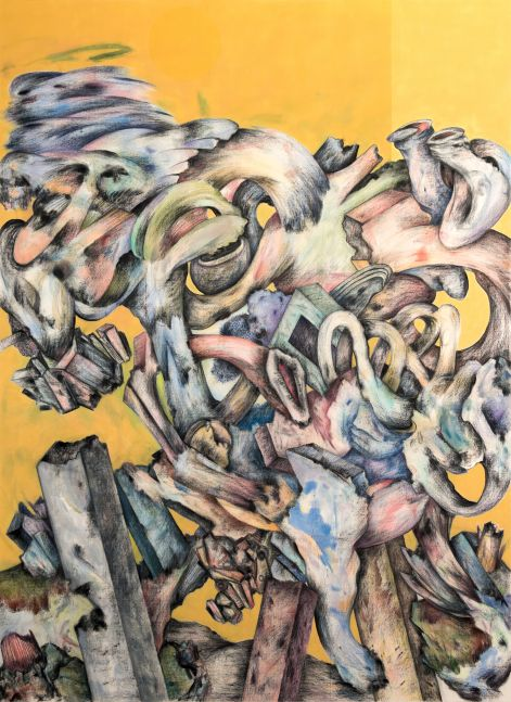 Acrylic, charcoal, and colored pencil on canvas work by Ahmed Alsoudani featuring a two-toned yellow color background