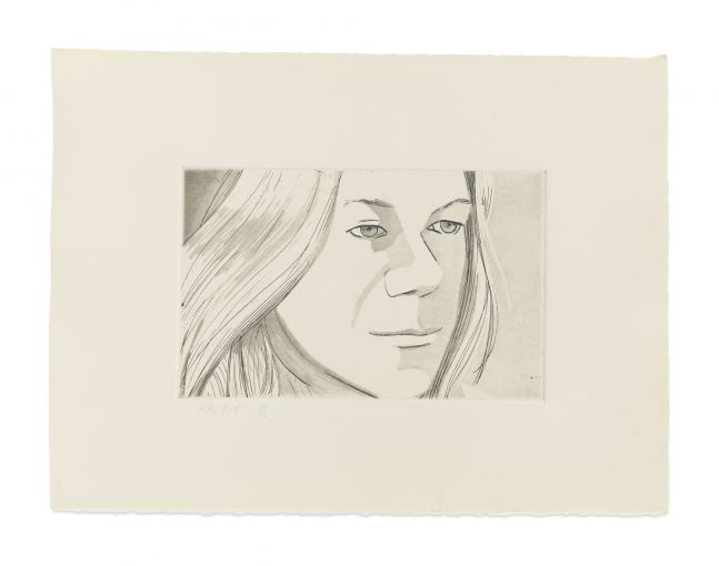 Aquatint by Alex Katz of a portrait of a woman at 3/4 view and looking straight ahead with her mouth closed