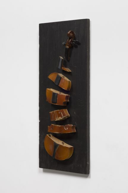 Side view of a violin sliced in seven parts on a dark wood panel