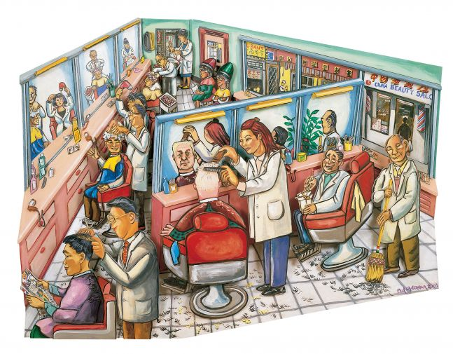 Acrylic on wood artwork by Red Grooms of a busy day inside of the China Beauty Salon featuring people getting their hair done and trimmings on the ground