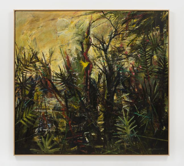 Landscape painting of trees and plants with a yellow background.