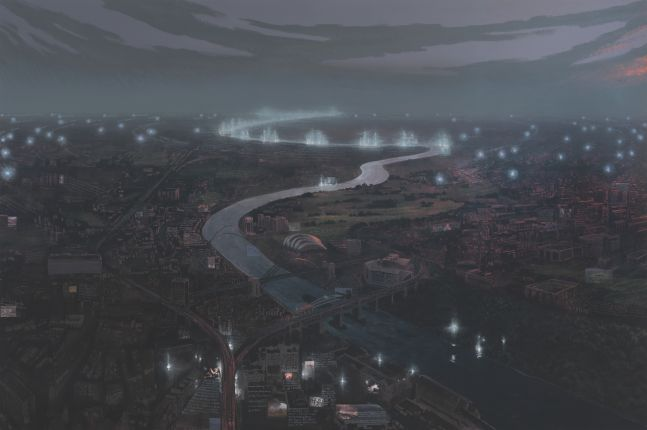 Stephen Hannock work depicting an aerial view of a cityscape with winding river down the middle.
