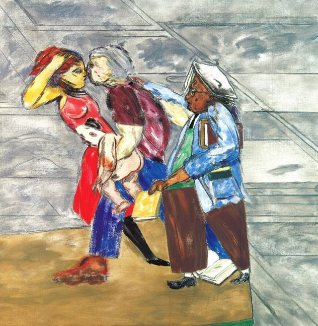 Four abstract figures caught in motion on grey background by R.B. Kitaj.