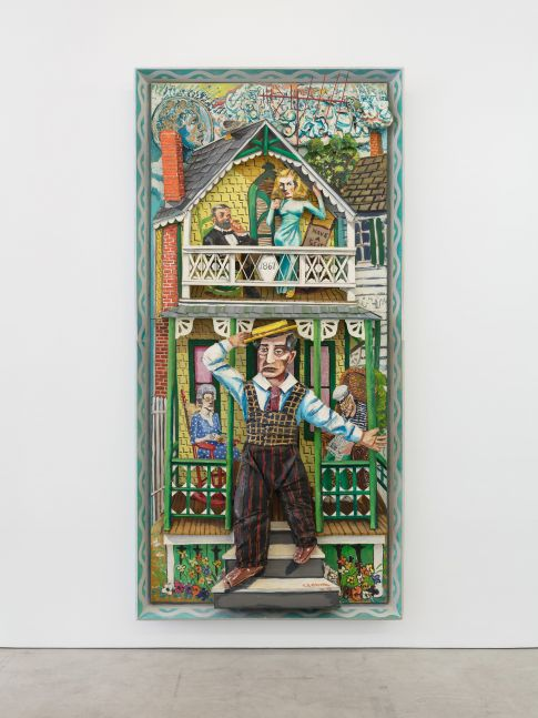 A Red Grooms work depicting a man stepping outside his green house with family behind.