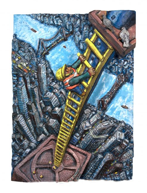 Acrylic, ink, mixed media and epoxy mounted on wood artwork by Red Grooms of an exaggerated bird's-eye perspective of a construction worker climbing a ladder over city buildings and water