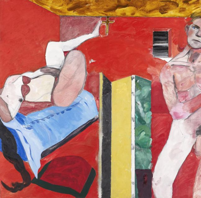 Abstract painting of two figures in a red room with distorted perspective by R.B. Kitaj.