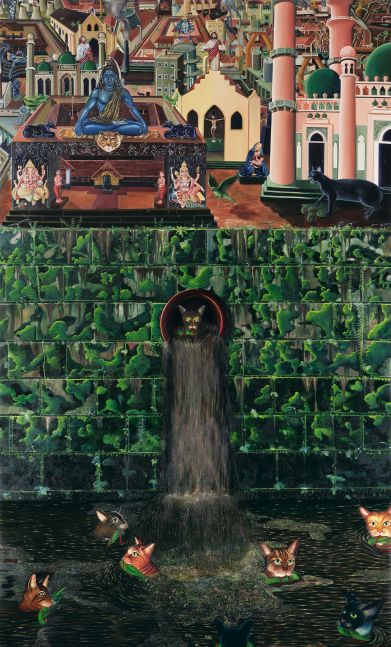 RATHEESH T., Colourless Gods, 2007, oil on canvas, 275 x 168 cm / 108 x 66 in