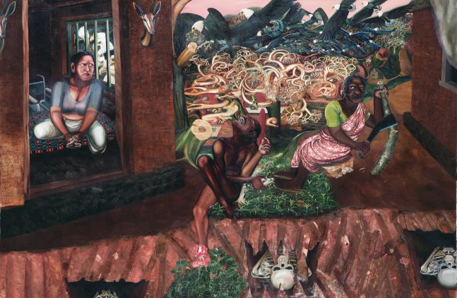 RATHEESH T., Eagles (Hill 1), 2006, oil on canvas, 199 x 304 cm / 78.3 x 119.6 in