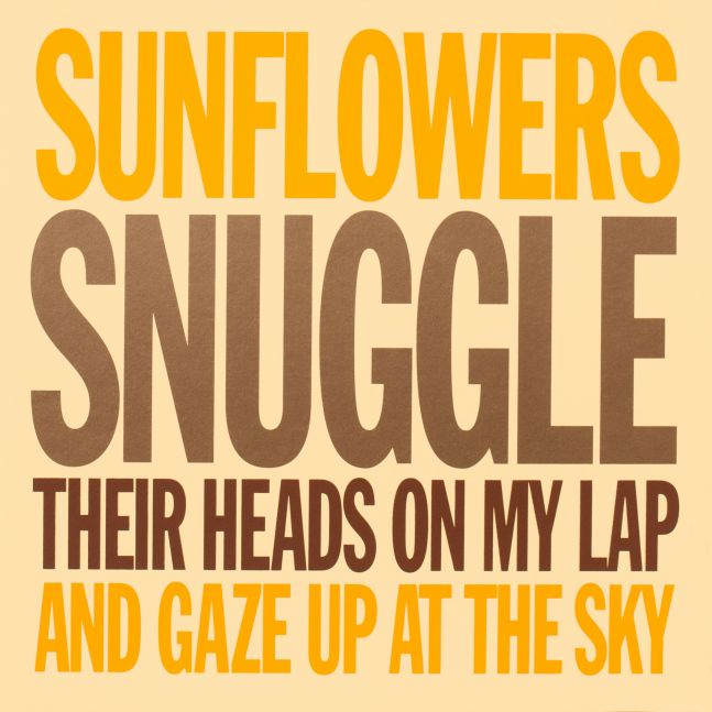 SUNFLOWERS SNUGGLE THEIR HEADS ON MY LAP AND GAZE UP AT THE SKY, 2007