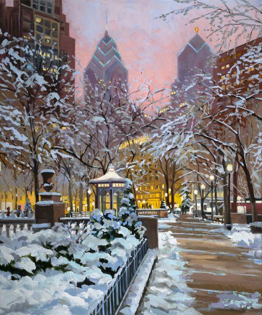 """Elaine Lisle, Rittenhouse Snow  30"""" x 36""""  Oil On Canvas"""
